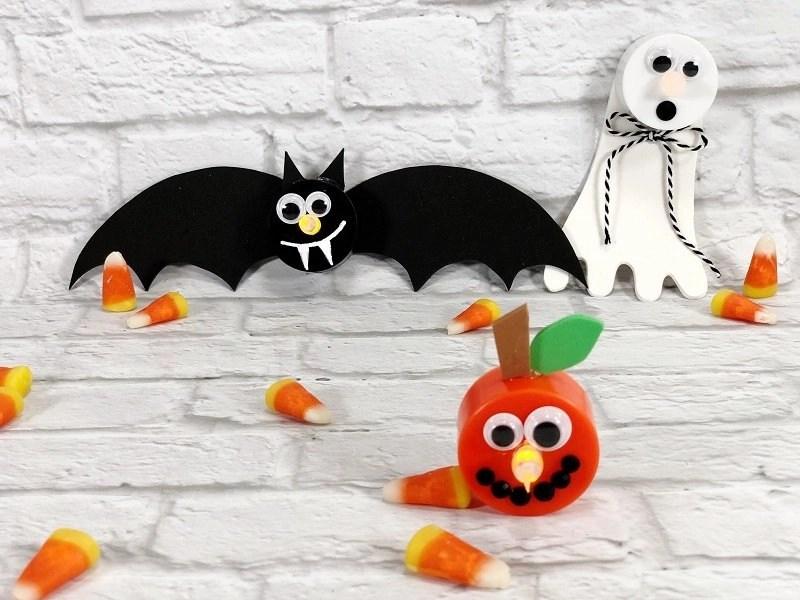 How to make Dollar Tree Halloween Votives in 15 Minutes Creatively Beth #creativelybeth #dollartree #crafts #halloween #ghost #bat #jackolantern