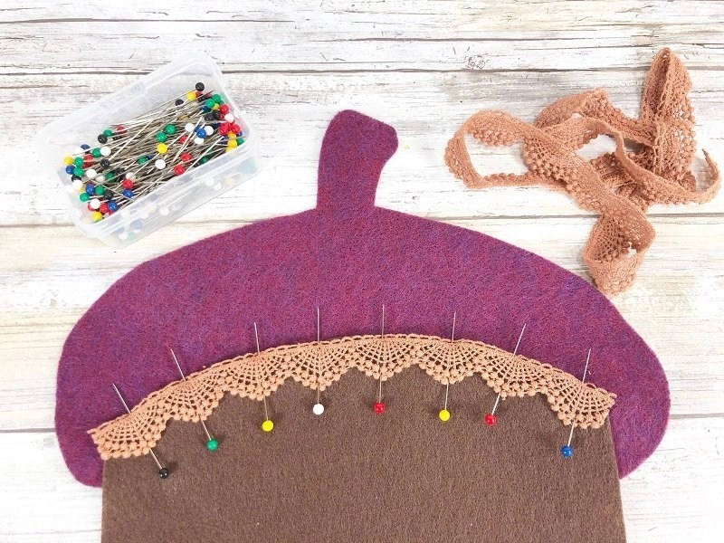 Pin lace to acorn base and acorn cap by Creatively Beth #creativelybeth #polyfil #fairfieldworld #autumnhomedecor #easysewingproject