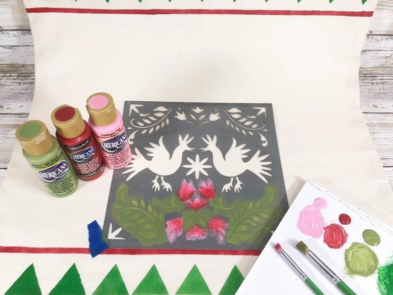 To create a shaded effect start with the light color and add the darker color to the edges Creatively Beth #creativelybeth #fairfieldworls #uglychristmassweater #pillowparty2020 #stenciled #decoart