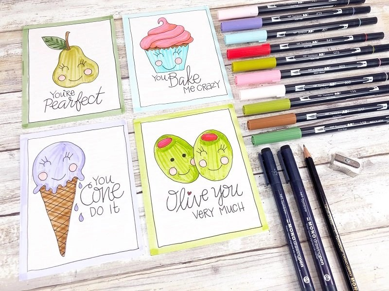 Free Printable Kawaii Inspired Valentine Cards Hand Drawn by Creatively Beth #creativelybeth #freeprintable #valentinesdaycards #kawaii #coloringpage