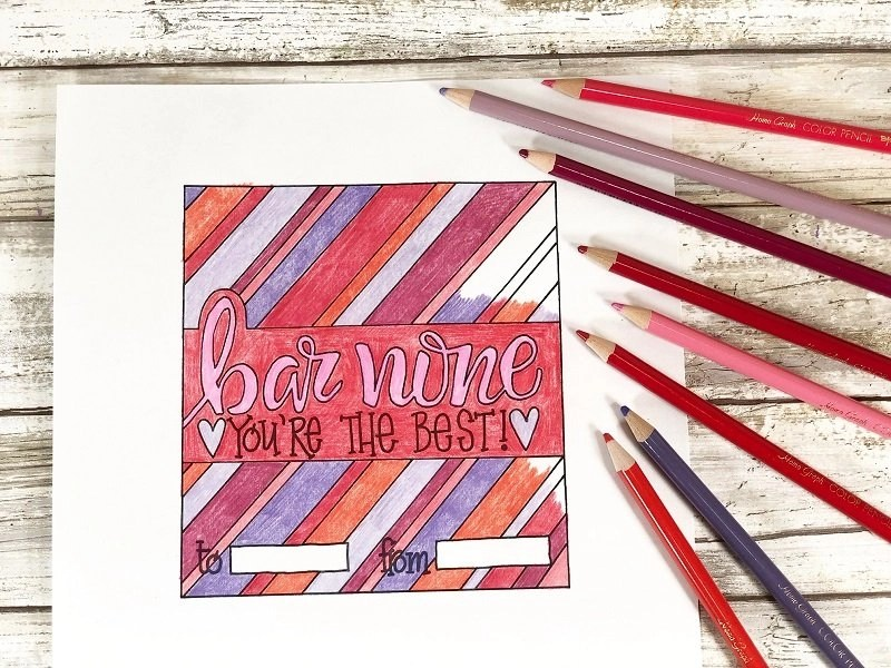 Print and color Free Candy Bar Wrappers for Valentine's Day Creatively Beth #creativelybeth #freeprintable #candybarwrappers #valentinesday
