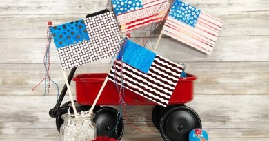Quick and Easy Foiled Flags with Therm-O-Web and Laura Kelly Designs by Creatively Beth #creativelybeth #flagcrafts #papercrafts #foilcrafts