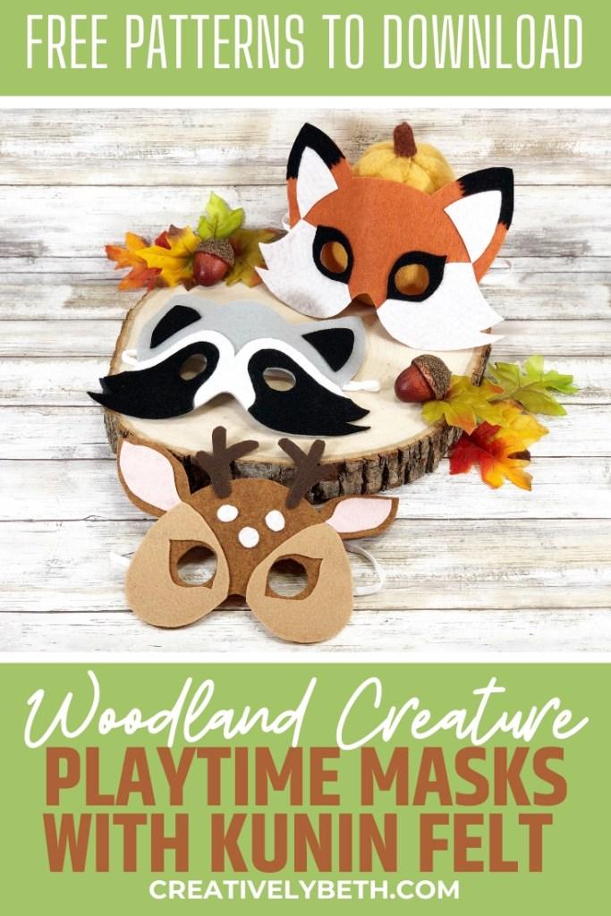 Woodland Creature Trio Felt Mask a No-Sew DIY by Creatively Beth #creativelybeth #createwithkunin #feltcrafts #feltmasks #deermask #kidscrafts
