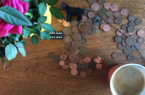 toys with pennies on a table
