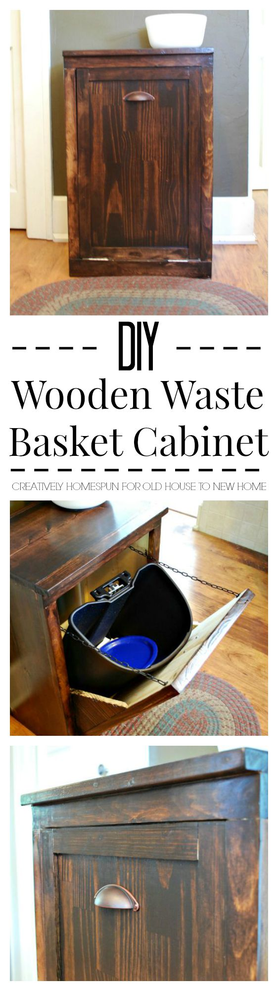 DIY Wooden Waste Basket Cabinet #diy #kitchendecor #diydecor