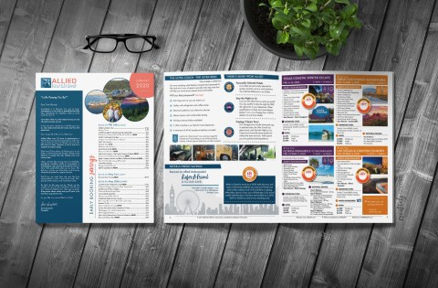 Allied Tour & Travel newsletter design print Creatively Seeded
