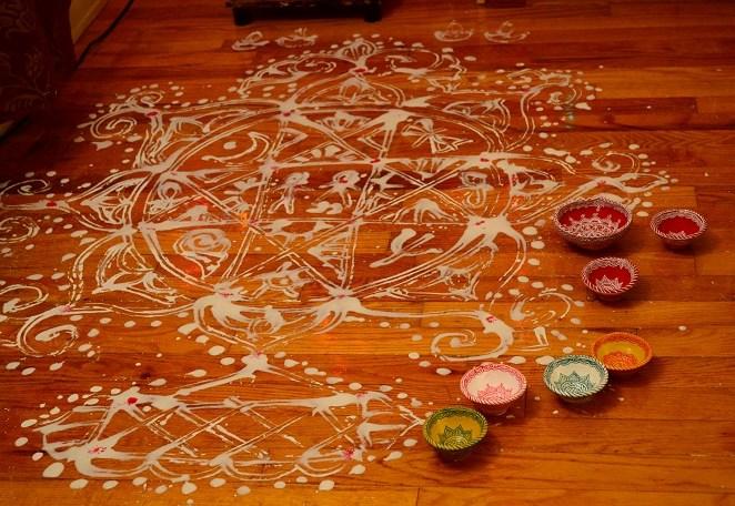 Aripan (floor painting ) in Mithila.
