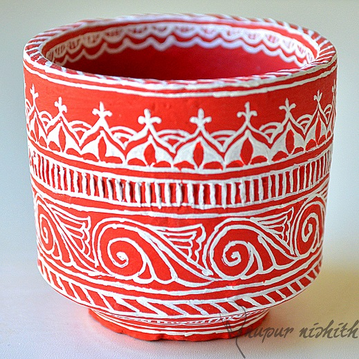 Cup made of Clay handpainted in style inspired from Mithila / Madhubani Painting