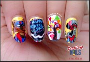 birthday nail art with swat kats