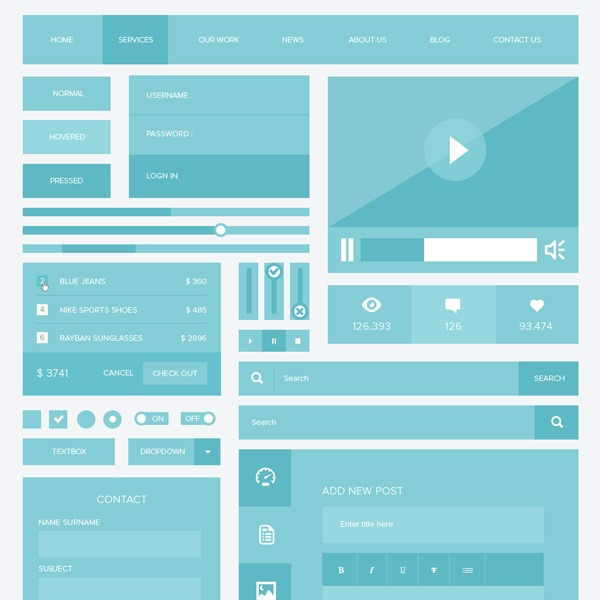 blue-flat-ui-kit