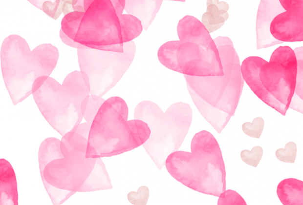scattered heart watercolor free