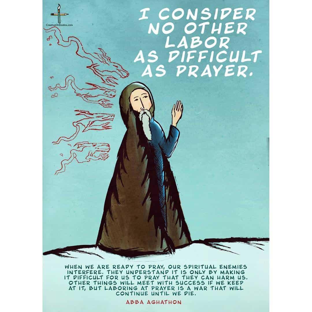2016 Orthodox illustrations: Saint Aghathon on prayer