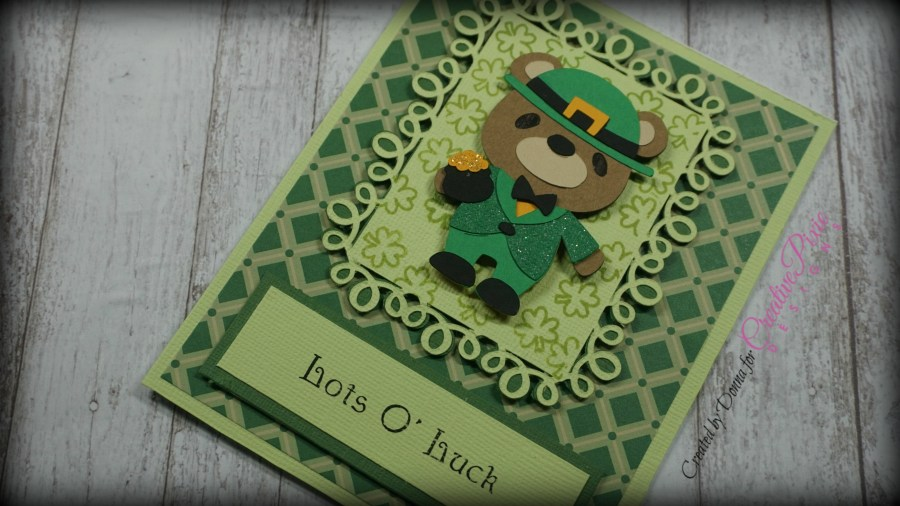 Laprechaun Bear card designed with Cricut DS