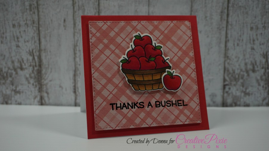 Lawn Fawn Thanks a bushel red handmade card