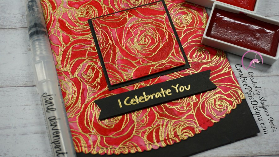 My Favorite Things Roses all over Background stamp colored with Gansai Tambi Watercolors with gold embossing handmade card.