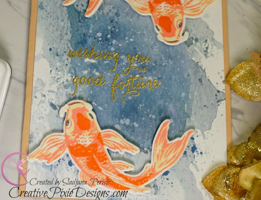 Hero Arts Color Layering Koi Bundle stamped with dye ink and ink smooshing background with Distress Inks handmade card.