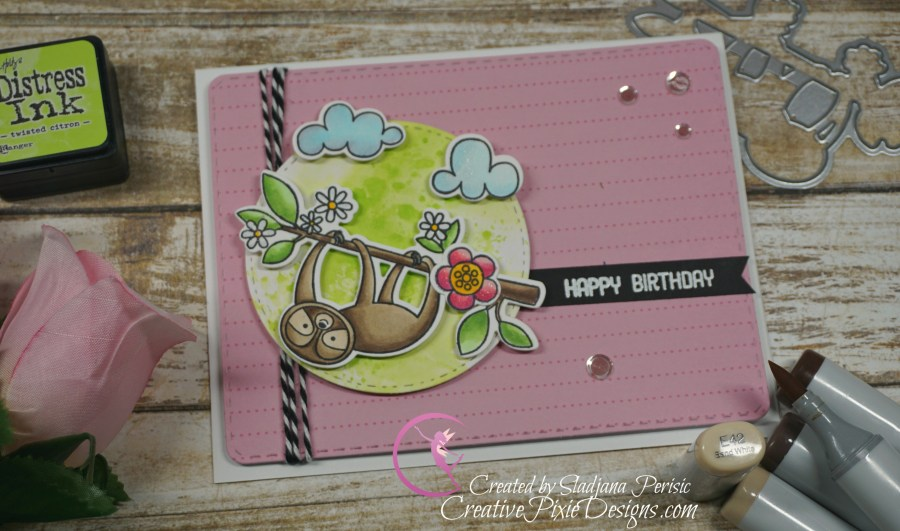 MFT Sweet Sloth birthday card colored with Copic markers and patterned paper handmade card.