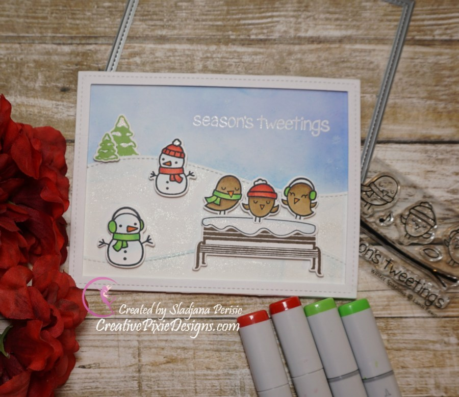 Lawn Fawn Winter in the Park, Winter Sparrows and Ready, Set, Snow stamp sets colored with Copic Markers and Distress ink backgrounds handmade Christmas card.