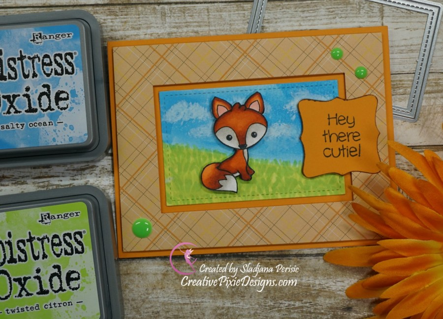 Your Next Stamp Woodland Cuties stamp colored with  Copic Marker patterned paper handmade card.