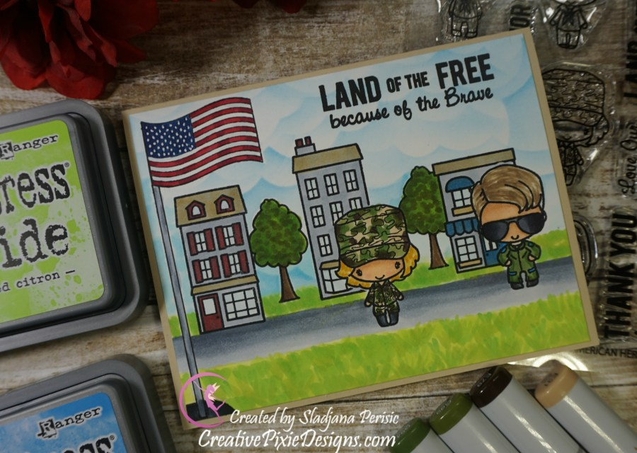 The Greeting Farm American Heroes and Main Street stamp sets colored with Copic Markers and Distress ink backgrounds handmade Veterans Day card.