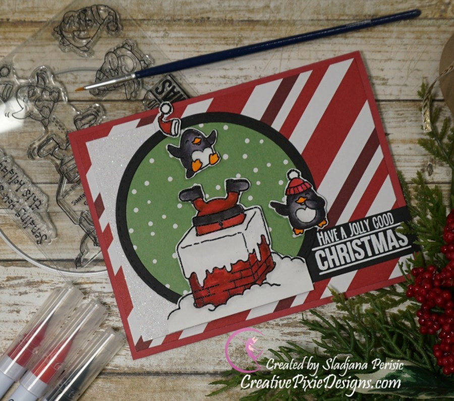Your Next Stamp Santa's Helpers stamp set colored with Zig Clean Color Real Brush Markers and patterned papers handmade Christmas card.