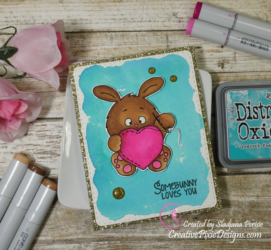 Gerda Steiner Love you Sew much Bunny digital stamp colored with Copic Markers and Distress Oxide ink background handmade card.