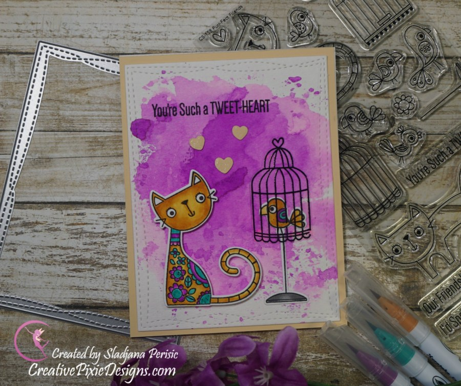 My Favorite Things Pur-fect Friends stamp set colored with Zig Clean Color Real Brush markers and ink smooshing background handmade Valentine card.