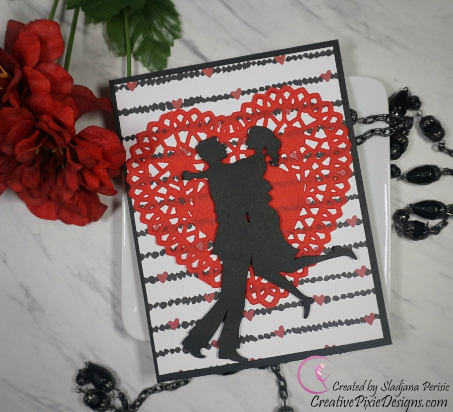 Cricut Valentine's Sweets Lovers silhouette Valentine's Day handmade card.