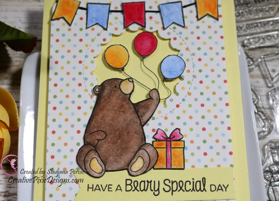 My Favorite Things Birthday Bears stamp set colored with Zig Clean Color Real Brush Markers and patterned paper handmade birthday card.