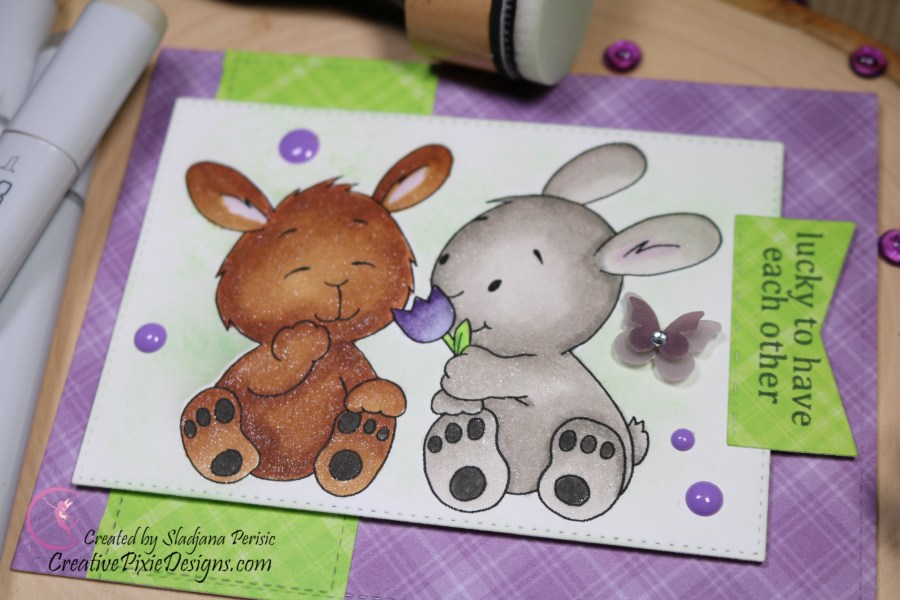 Gerda Steiner Designs Spring Bunny Friends digital stamp colored with Copic Markers and Distress ink backgrounds handmade card.