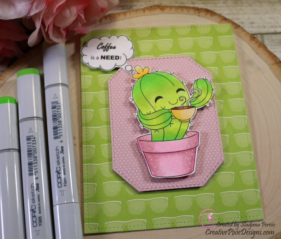 Craftin Desert Diva Cactus Coffee Digital stamp Copic colored and patterned paper Coffee card.