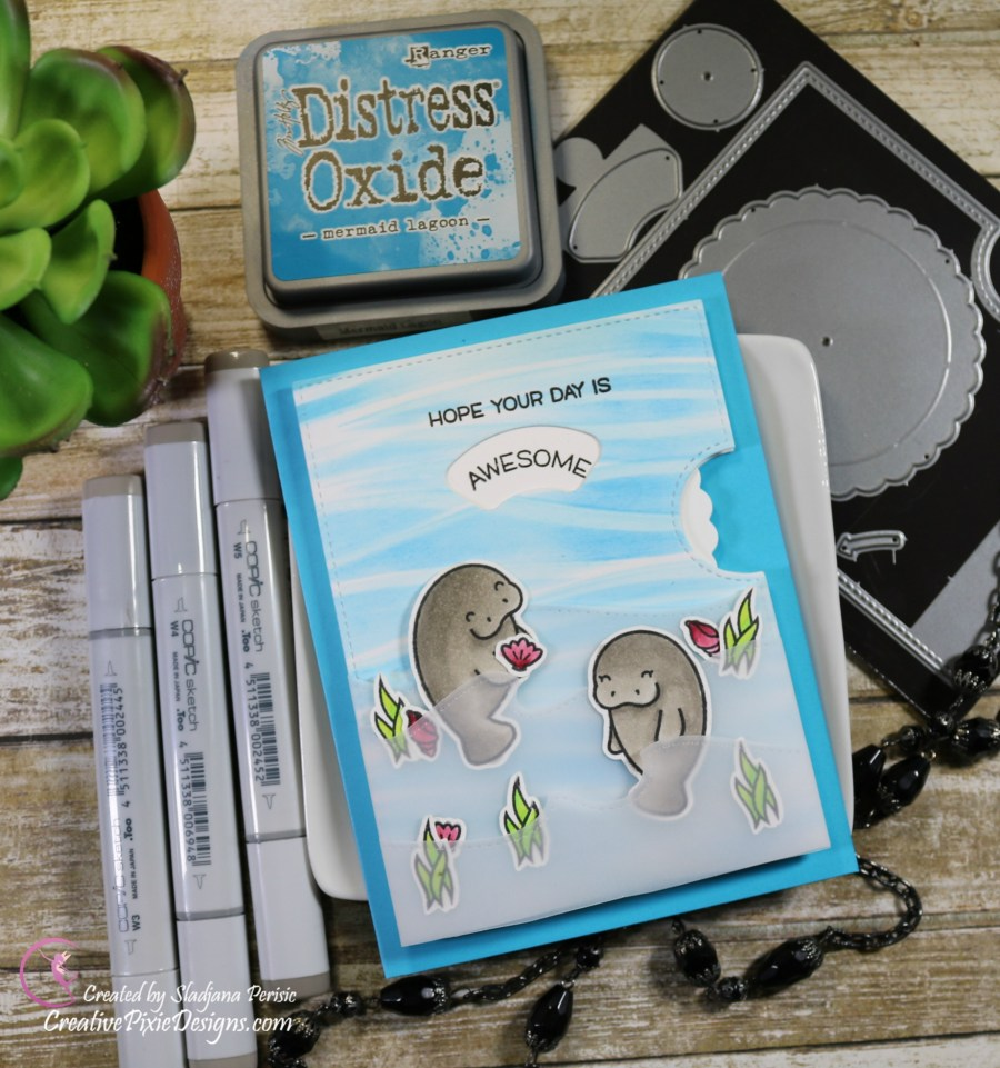 Lawn Fawn Manatee-rific and Lawn Fawn Reveal Wheel beachy background scene birthday card.
