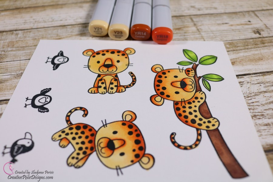 MFT Lovable Leopards colored in with Copic Markers.