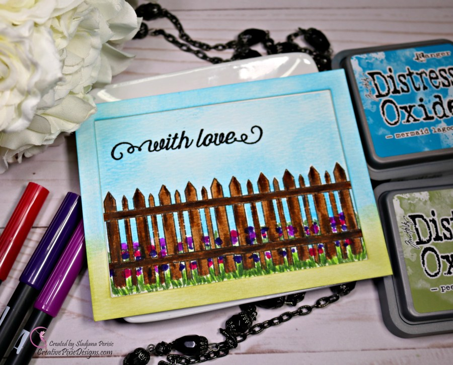 Simon Says Stamp August 2018 Card Kit called Mandy's Flowers featuring single layer card design with the fence stamp and hand drawn flowers.