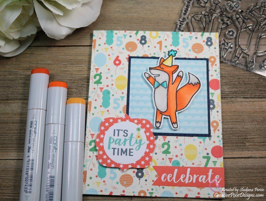 Scrapping For Less July 2018 FOTM Card Kit Birthday Wishes featuring Avery Elle Party Fox Stamp and Happy Birthday boy patterned paper by Echo Park.
