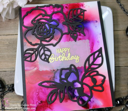 Spellbinders Lovely Lilac and Rosy Summer Etched Dies combined with an alcohol ink background from Ranger Alcohol inks.