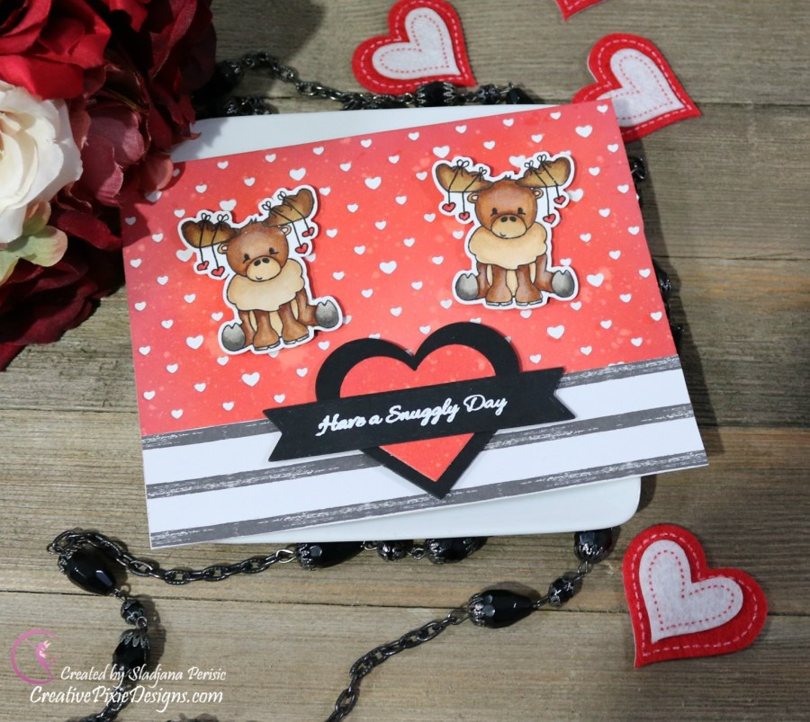 Scrapping For Less Arctic Sentiments Stamp combined with Lawn Fawn Polka Heart Backdrop die colored with Copic Markers and ink blended background with Distress Oxide inks, Valentine's Day Card.