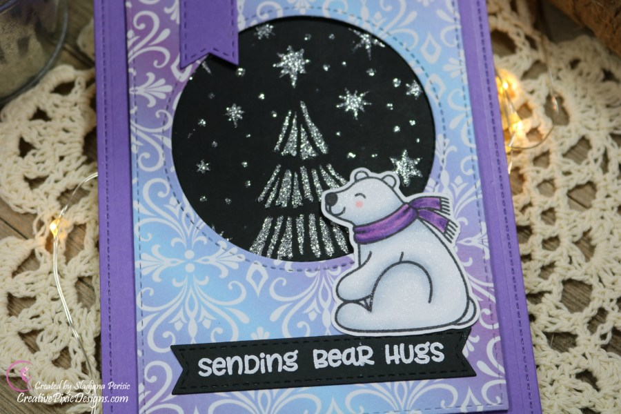 Scrapping For Less December 2018 FOTM Card Animals in the Arctic featuring from collection one: Bear Hugs by Sunny Studios and Winter Skies by Scrapping For Less patterned paper.
