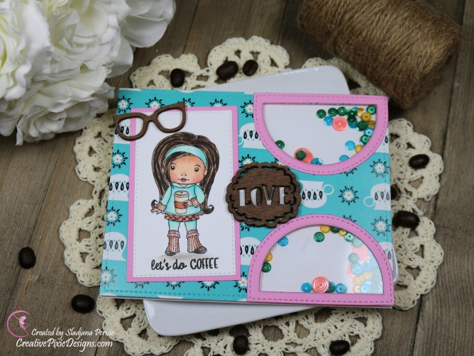 Scrapping For Less January 2019 FOTM Card Kit Perk Up and Start the New Year featuring from collection three: Coffee Break Marci stamp by La-La Land Crafts and Coffee and Friends patterned paper by Scrapping For Less.