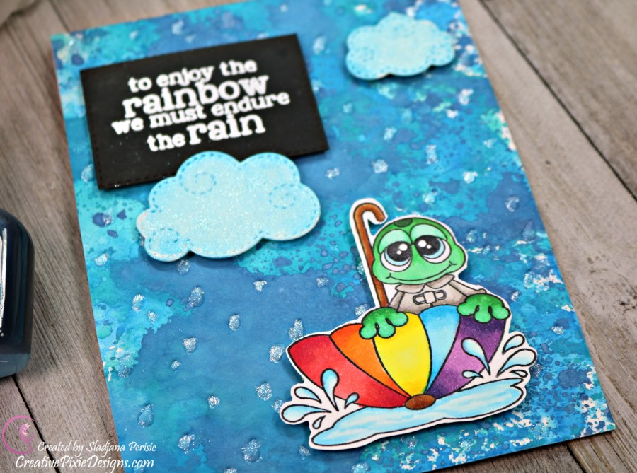 Lawn Fawn Rainy Backdrop Die dry embossed on cardstock combined with Pink and Main Rain Frogs handmade card.