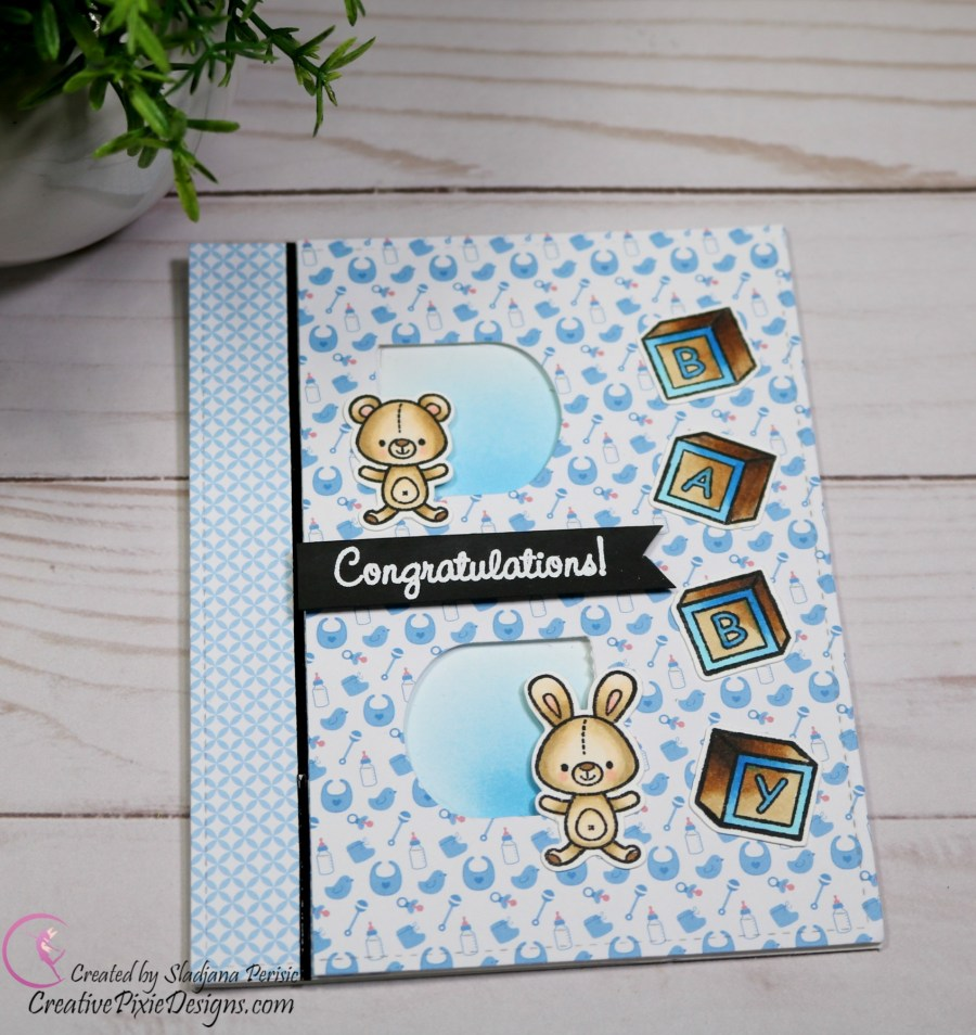 Scrapping For Less March 2019 Flavor of the Month Card Kit Let's Celebrate. Collection three: Baby Stamp and Sweet Baby Paper by Your Next Stamp.