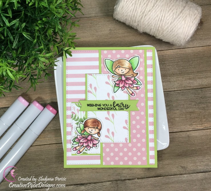 Fairies by Avery Elle Stamps Copic colored and combined with Fairy's Garden papers by Scrapping For Less.