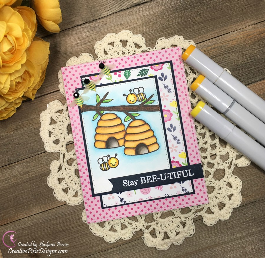Just Bee-cause stamp by Sunny Studios colored with Copic markers and combined with Spring Time papers by Scrapping For Less.