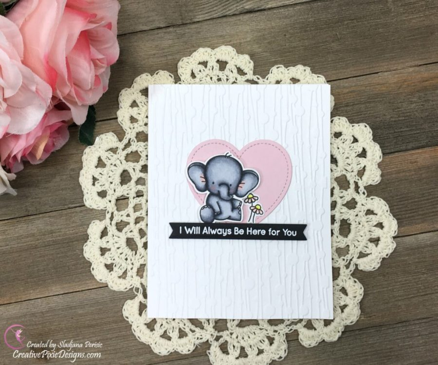 MFT BB Adorable Elephants stamp colored with Copic Markers and combined with Garlands Embossing Folder by Carabelle Studios.