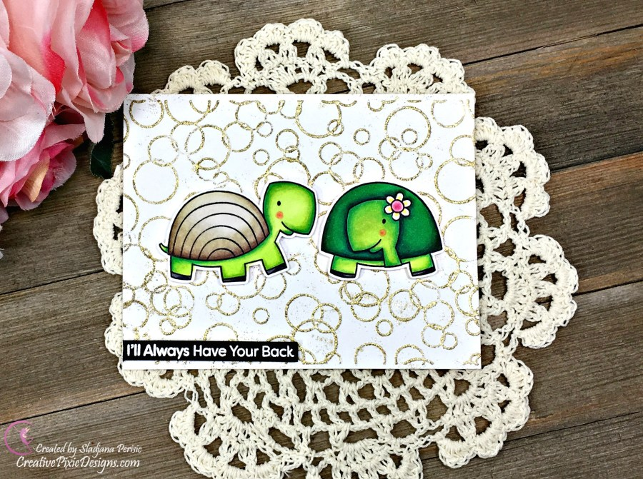 MFT Too Cute stamp colored with Copic Markers and combined with Mermaid Bubbles Embossing Folder by Echo Park.