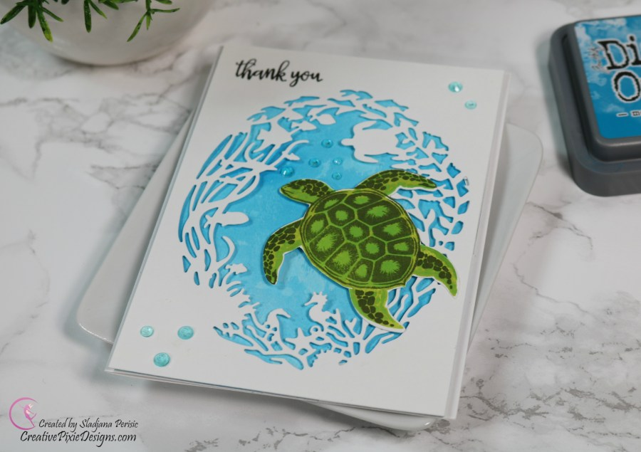 Hero Arts Color Layering Sea Turtle combined with a Hero Arts Reef Border and Fancy Frame Die handmade card.