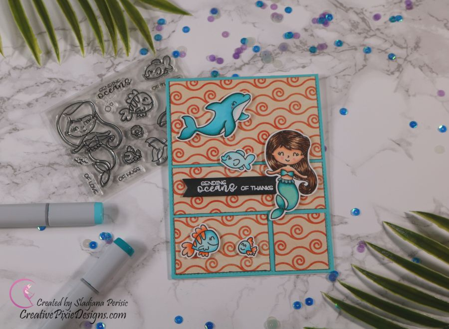 Scrapping For Less June 2019 Flavor of the Month Card Kit Under the Sea Babies. Collection one: Sea Babies Stamp by Avery Elle combined with Watercolor Ocean Babies patterned paper by Scrapping For Less handmade card.
