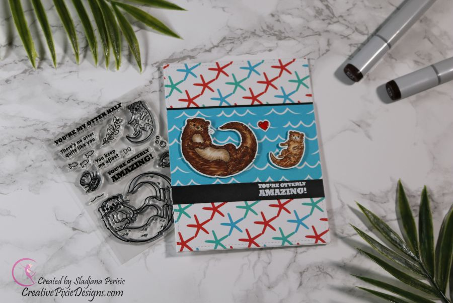 Scrapping For Less June 2019 Flavor of the Month Card Kit Under the Sea Babies. Collection three: Sea Otters stamp by Hero Arts combined with Sea Creatures patterned paper by Scrapping For Less handmade card.
