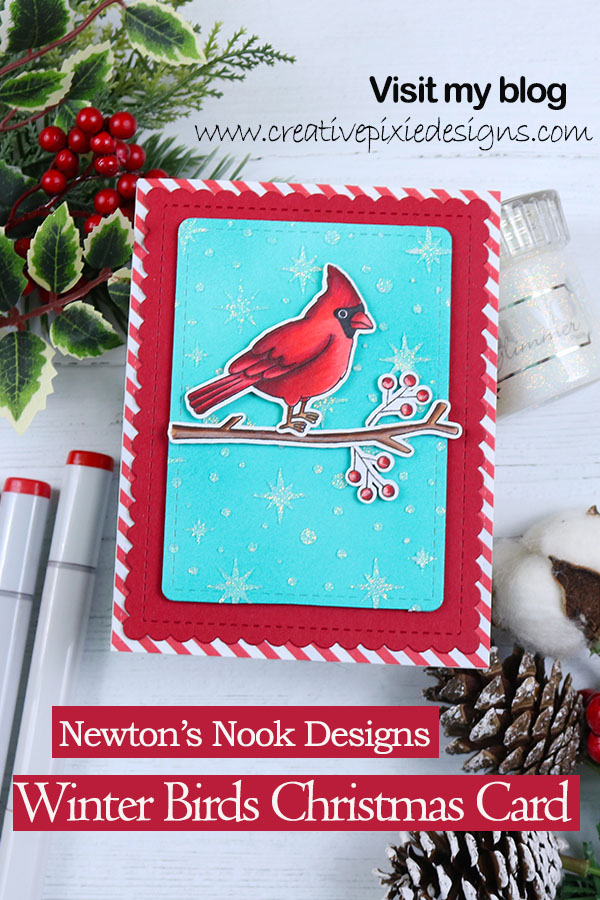 Newton's Nook Designs Winter Birds, colored with Copic Markers. Newton's Nook Designs Starfield Stencils and Nuvo Glimmer paste in Moonstone. Christmas handmade card. #newtonsnookdesigns | Copic coloring Cardinal | Handmade cards | Cardmaking