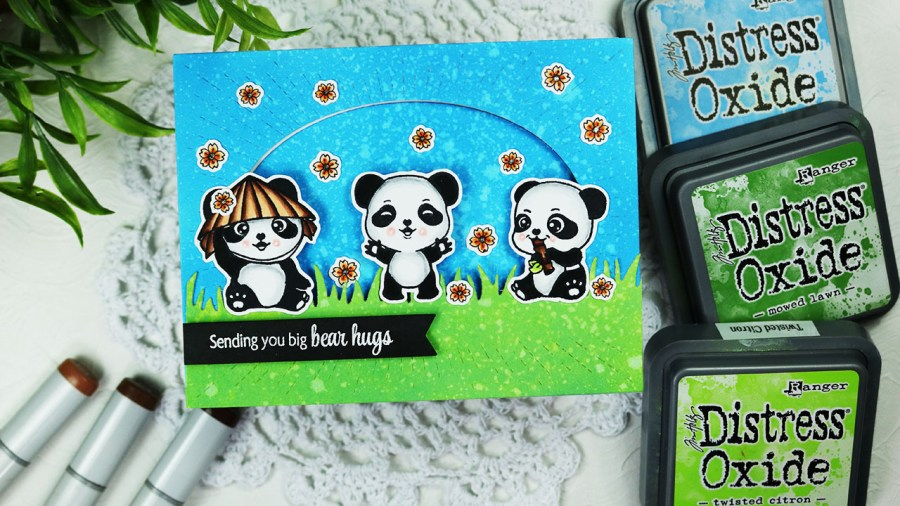 Sugar Pea Designs Pandamonium Big Bear Hugs friendship card.